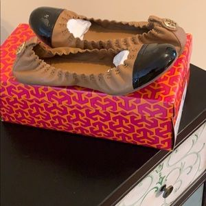 Tory Burch shoes new brown and black flats